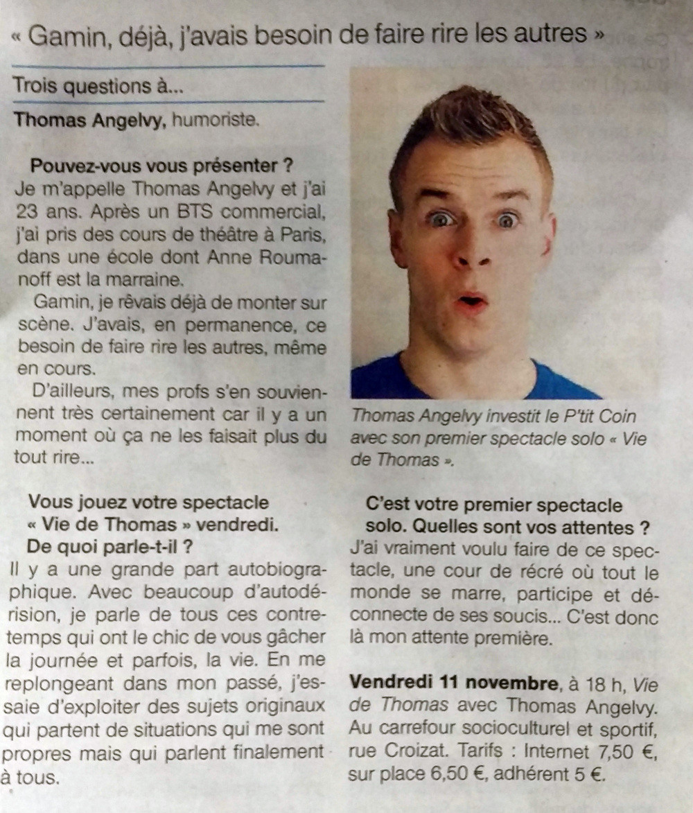 Thomas Angelvy - Article d'Ouest France